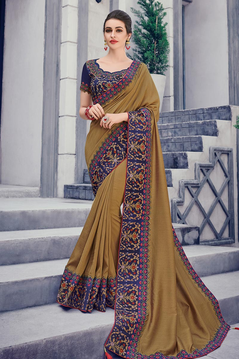 Border Work Light Brown Art Silk Fabric Party Wear Saree With Blouse