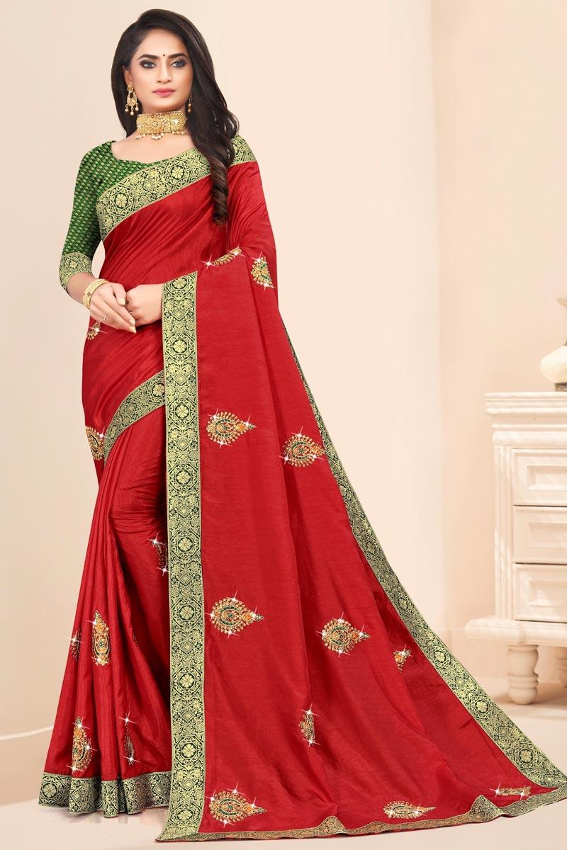 Festive Wear Art Silk Fabric Designer Lace Work Saree In Red Color