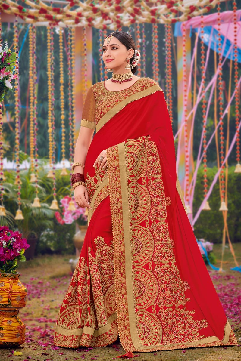 Red Color Designer Embroidered Saree In Georgette Fabric
