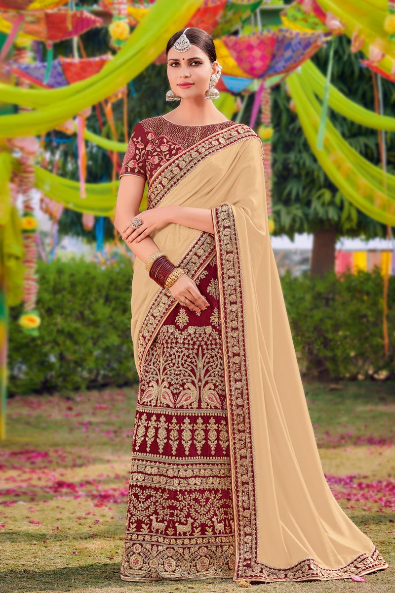 Satin Fabric Chikoo Color Designer Saree With Embroidery Work