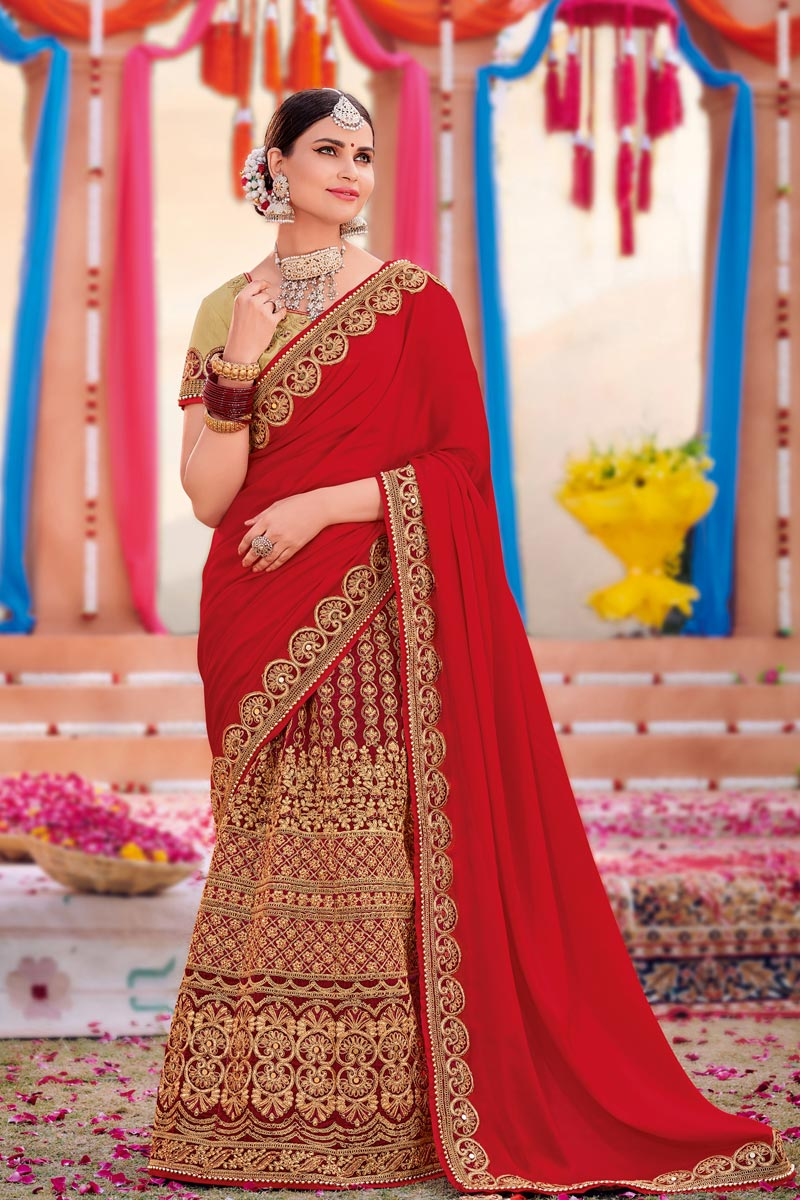 Georgette Fabric Red Color Designer Saree With Embroidery Work