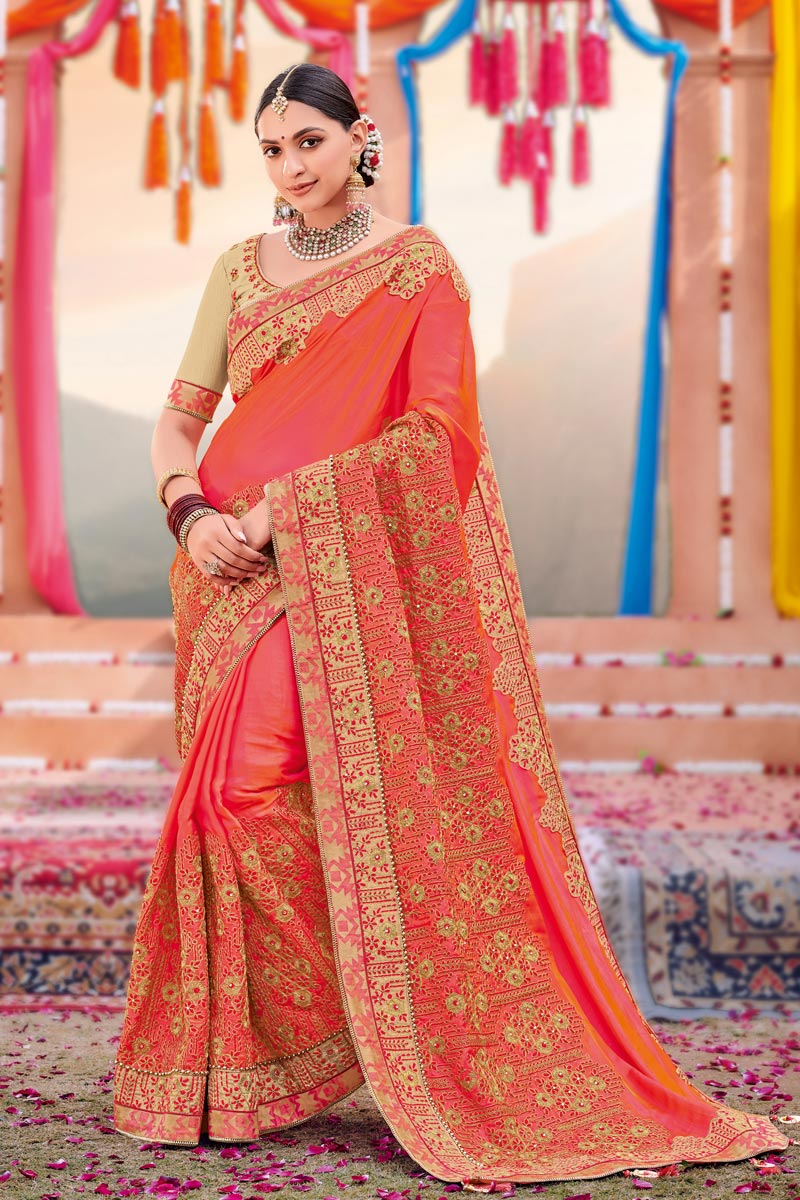 Embroidery Work Peach Color Satin Fabric Festive Wear Saree