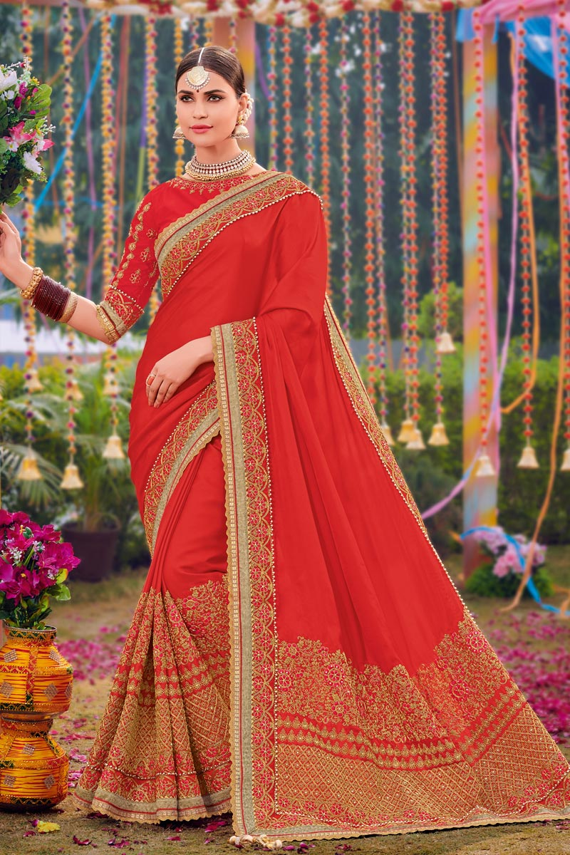 Embroidered Satin Fabric Red Color Occasion Wear Saree