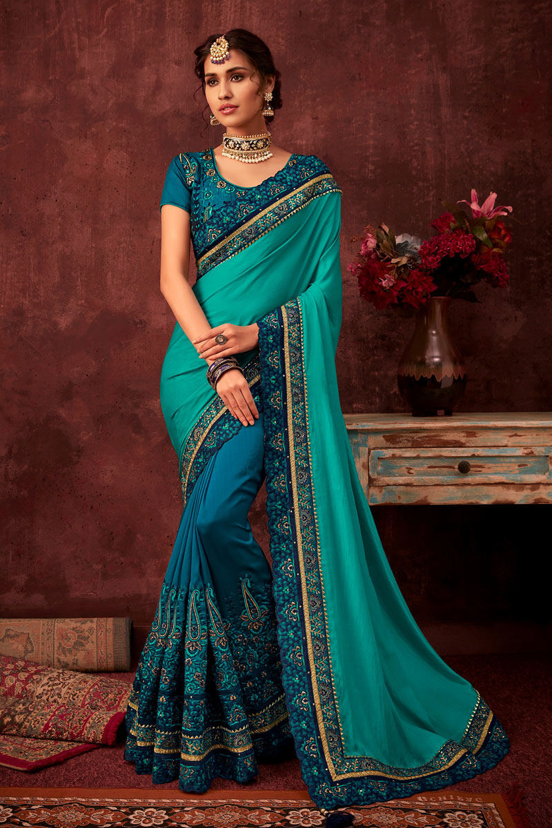 Function Wear Art Silk Fabric Embroidery Work On Saree In Cyan Color With Alluring Blouse