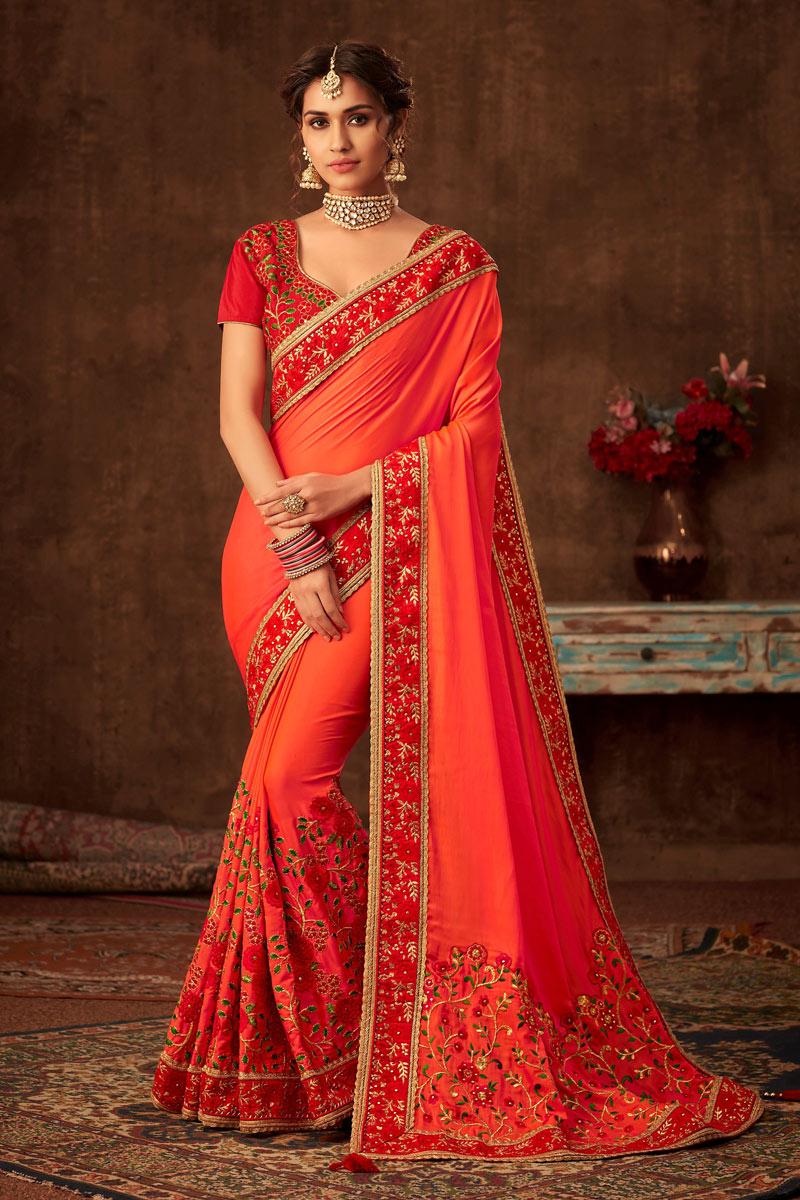 Fancy Embroidery Designs On Art Silk Orange Wedding Wear Saree