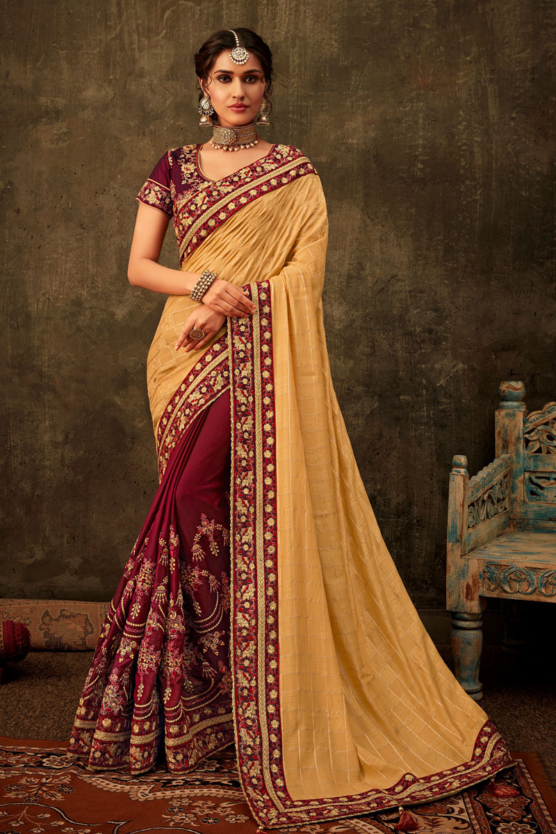 Cream Color Art Silk Fabric Designer Saree With Embroidery Work And Party Wear Blouse