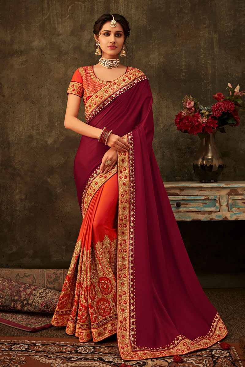 Embroidery Work On Art Silk Fabric Maroon Color Function Wear Saree With Party Wear Blouse