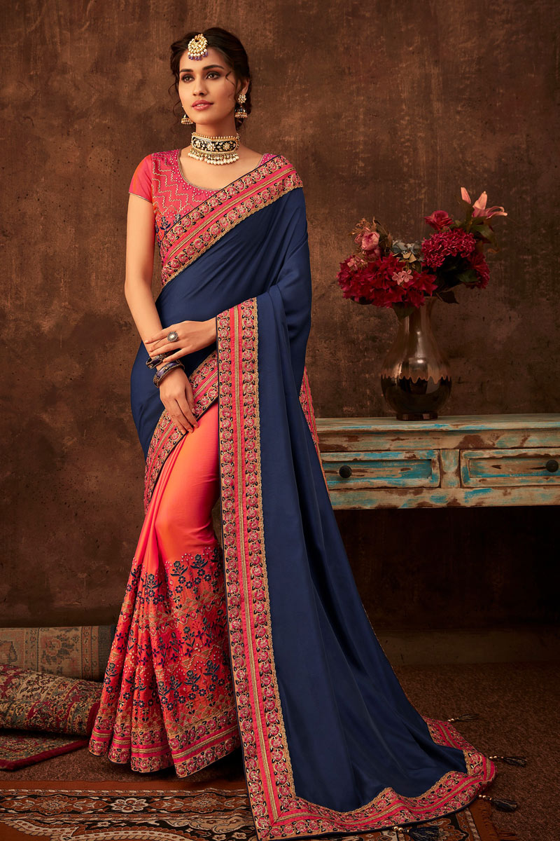 Navy Blue Fancy Art Silk Fabric Designer Saree With Embroidery Designs