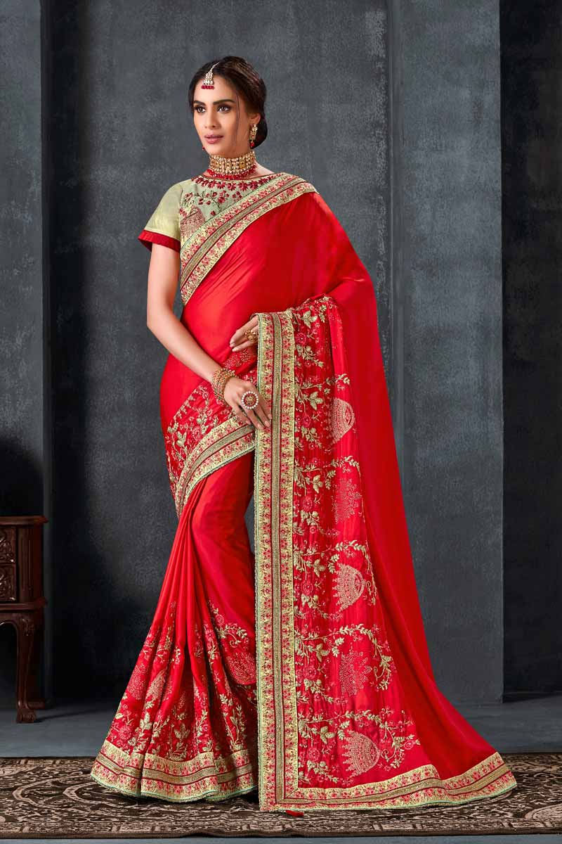 Art Silk Fabric Designer Sangeet Wear Red Color Embroidered Saree