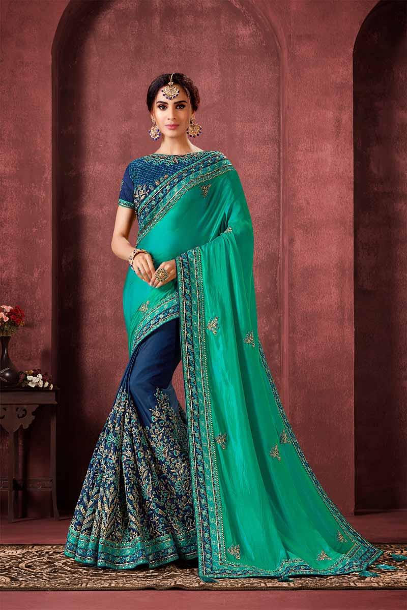 Navy Blue Color Sangeet Wear Art Silk Fabric Designer Embroidered Saree