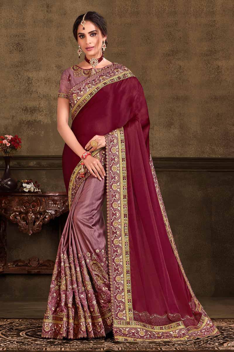 Sangeet Wear Designer Pink Color Embroidered Art Silk Fabric Saree