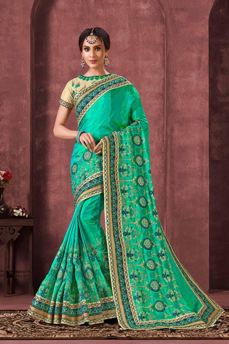 Sangeet Wear Designer Art Silk Fabric Embroidered Saree In Sea Green Color