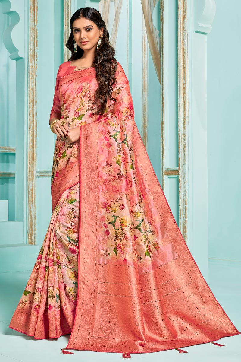 Silk Jacquard Fabric Pink Color Sangeet Function Wear Digital Printed Saree