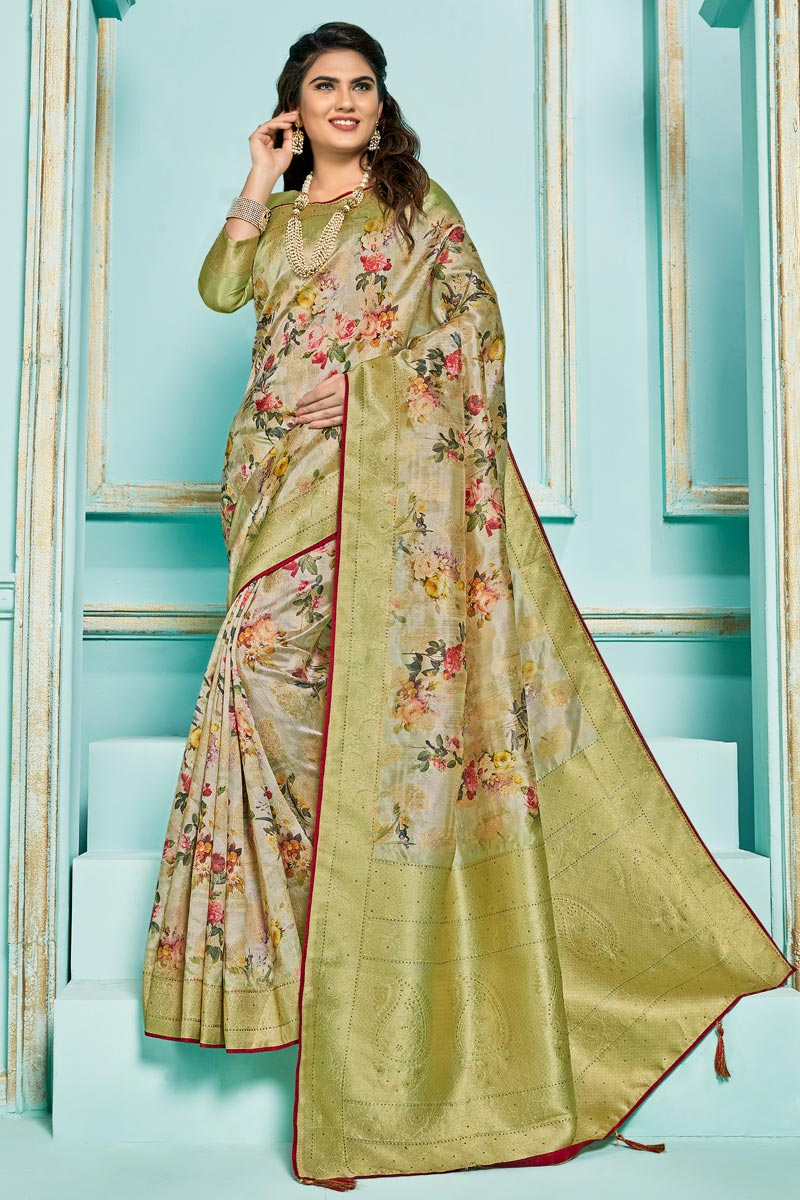 Digital Printed On Silk Jacquard Fabric Sangeet Function Wear Saree In Sea Green Color