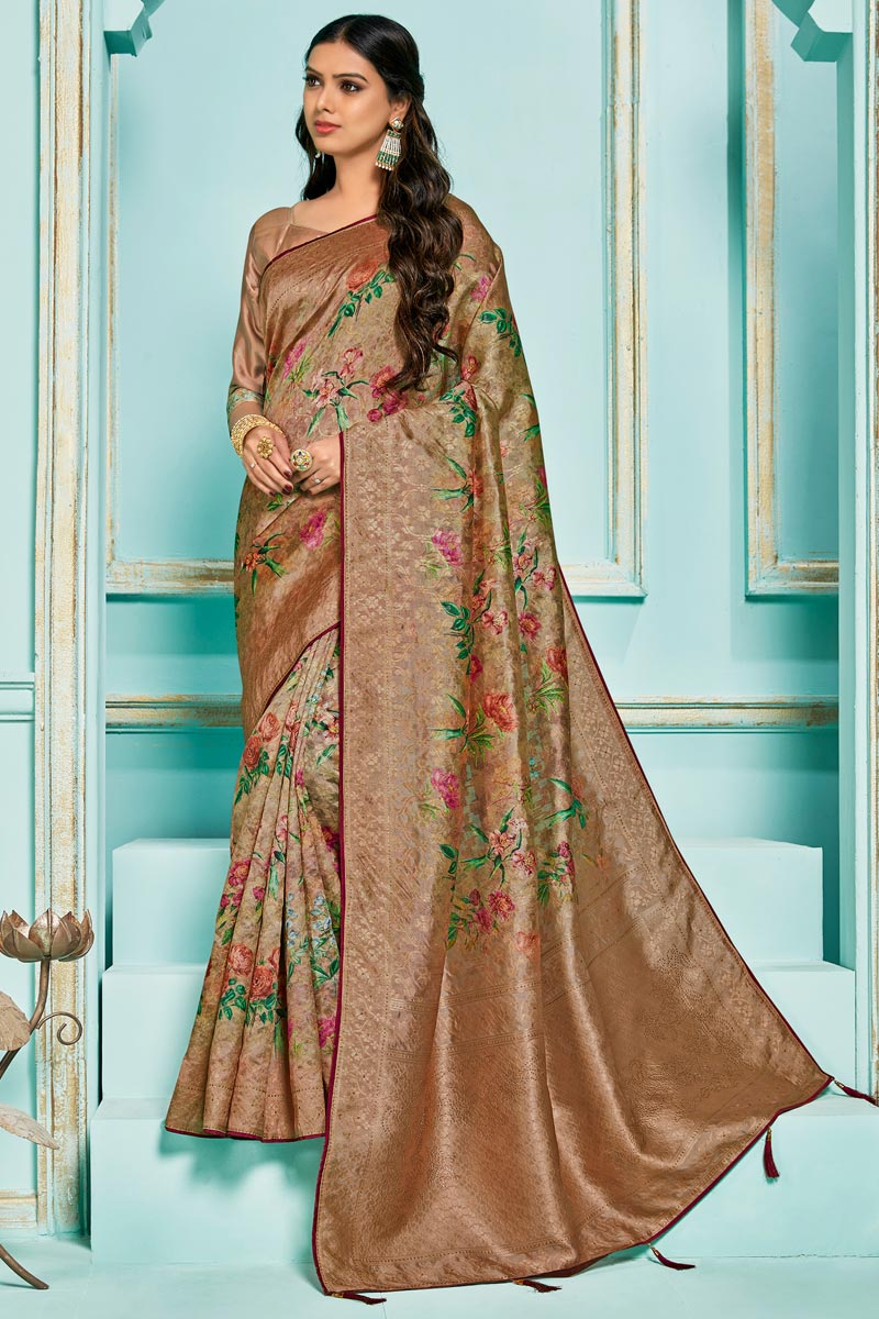 Brown Color Silk Jacquard Fabric Sangeet Function Wear Digital Printed Saree