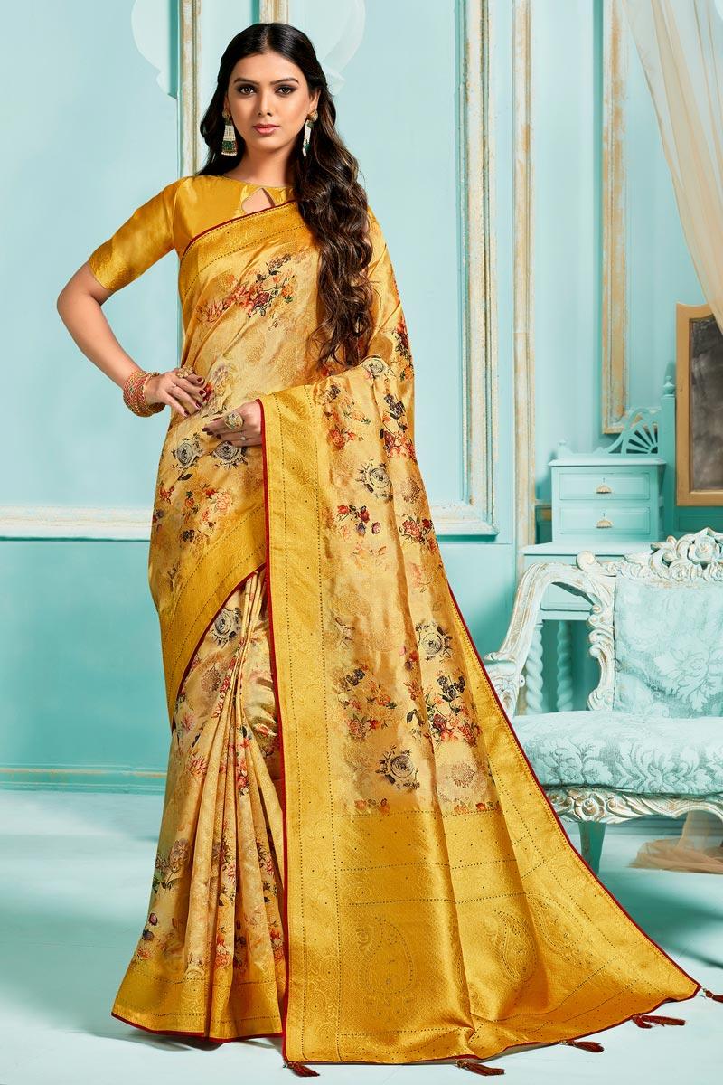 Silk Jacquard Fabric Sangeet Function Wear Yellow Color Digital Printed Saree