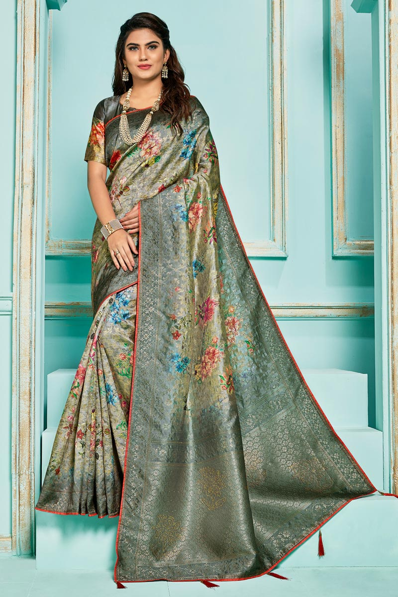 Grey Color Sangeet Function Wear Silk Jacquard Fabric Digital Printed Saree
