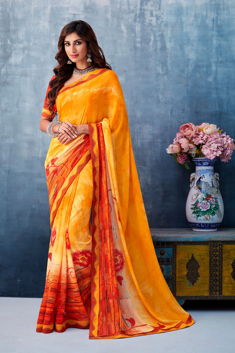 Yellow Color Casual Wear Printed Saree In Georgette Fabric