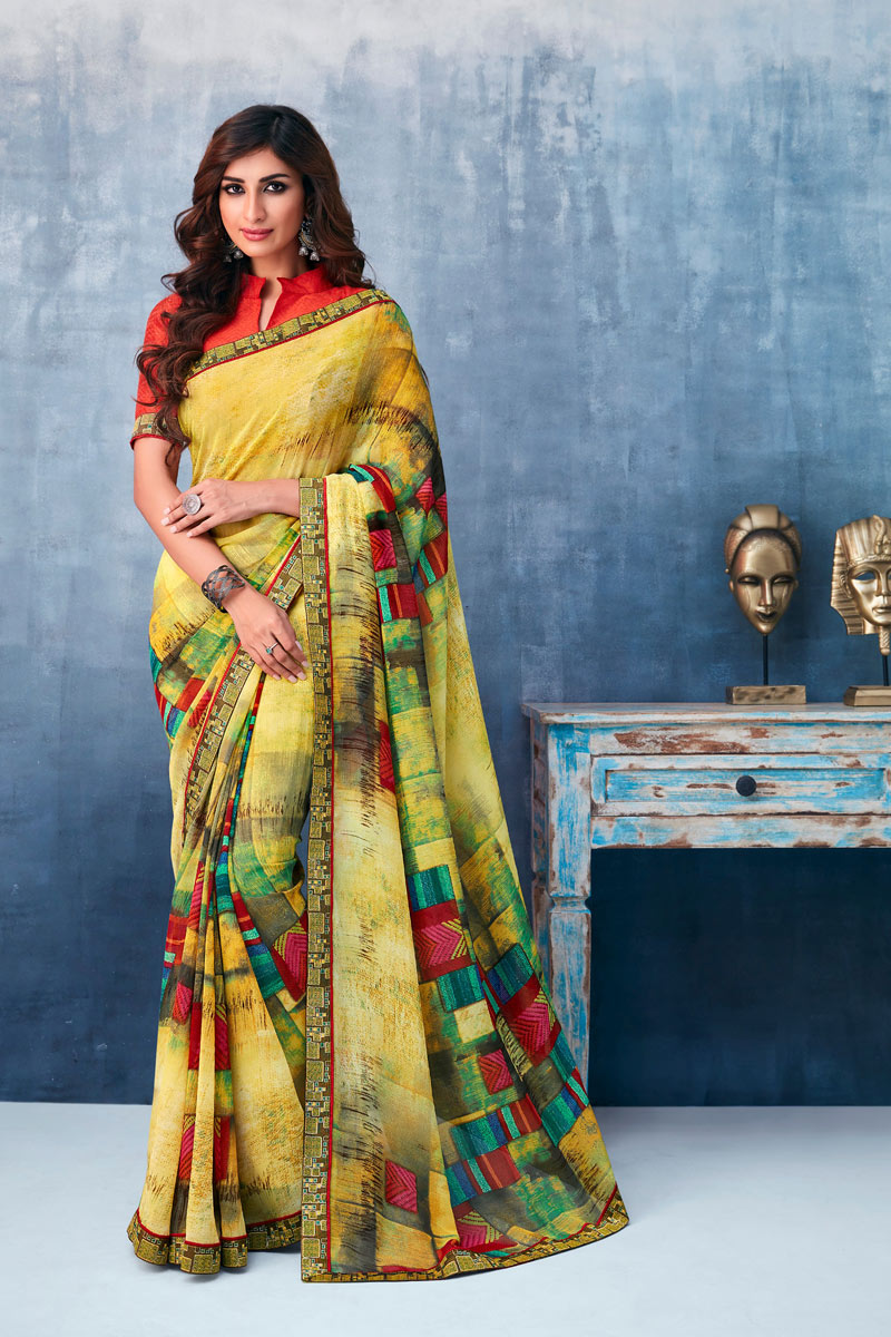 Fancy Georgette Fabric Yellow Color Daily Wear Printed Saree