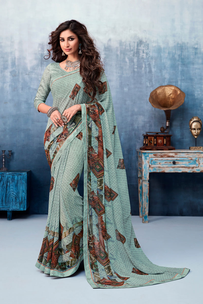 Grey Color Georgette Fabric Fancy Printed Saree With Blouse