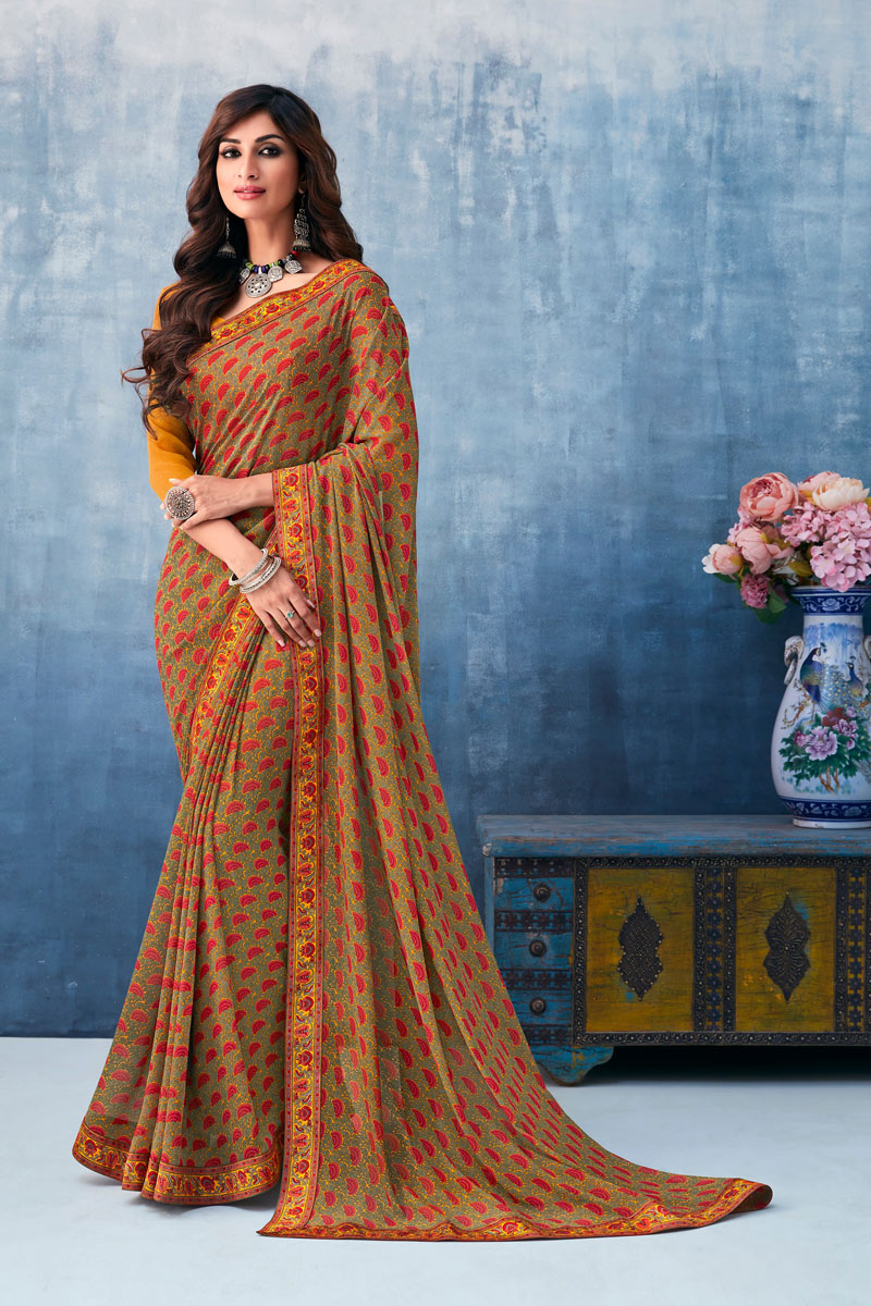 Festive Wear Printed Saree In Georgette Fabric Brown Color