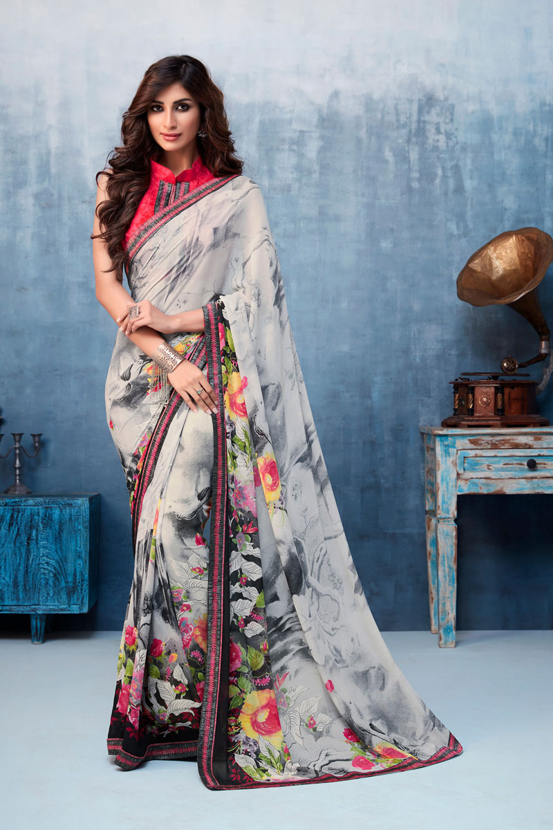 Grey Color Georgette Fabric Festive Wear Saree With Printed