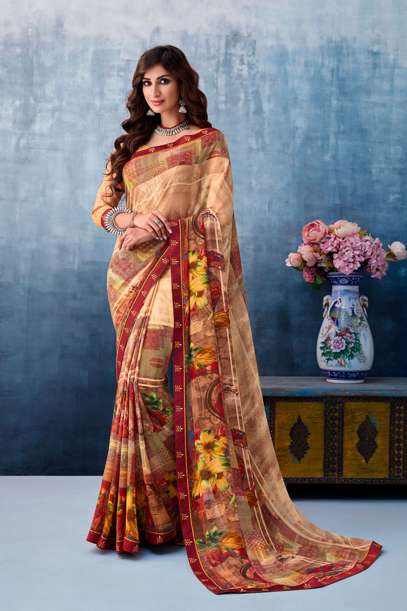 Printed Georgette Fabric Fancy Saree In Brown Color