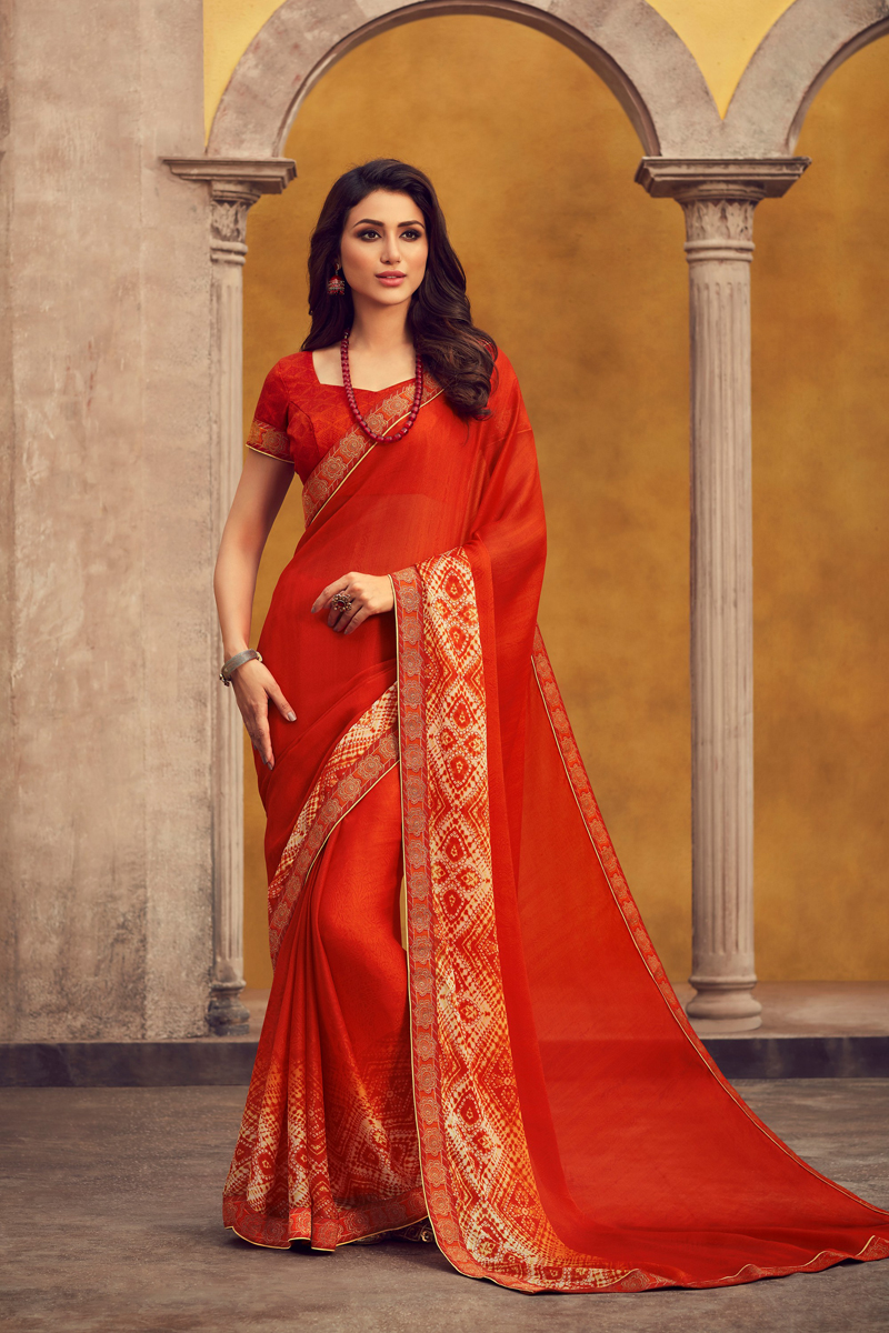 Georgette Fabric Red Color Daily Wear Fancy Printed Saree