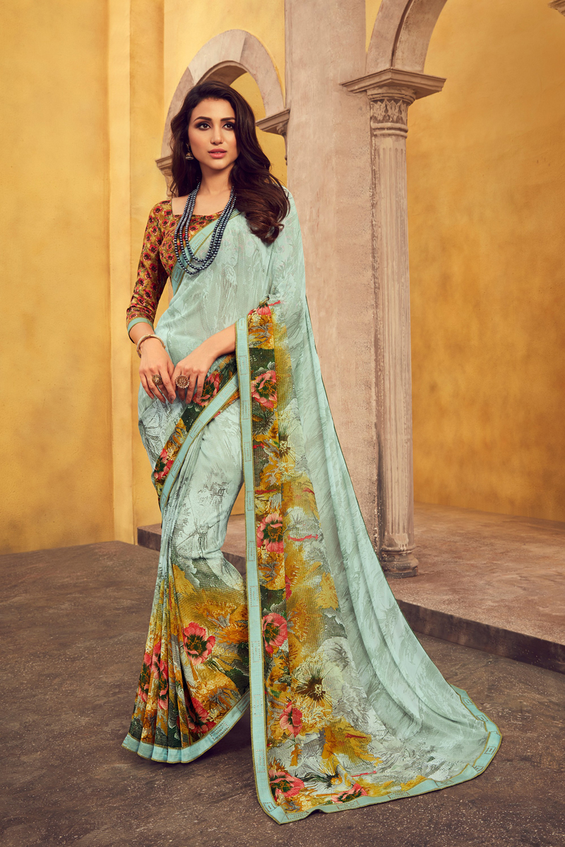 Georgette Fabric Office Wear Light Cyan Color Printed Saree