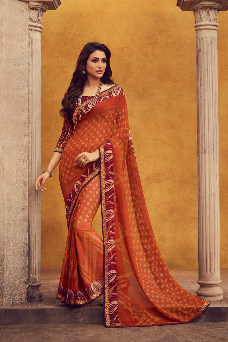 Georgette Fabric Rust Color Daily Wear Printed Saree