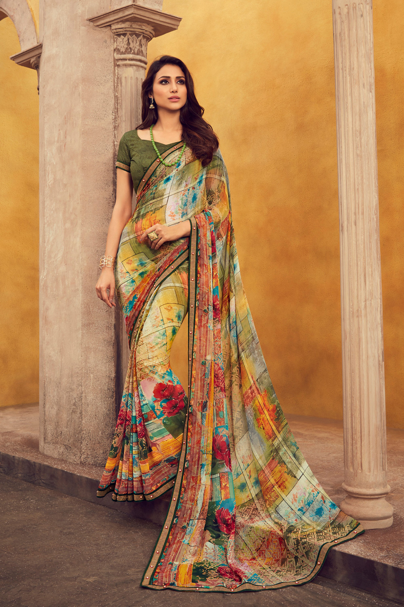 Multi Color Casual Wear Fancy Printed Saree In Georgette Fabric