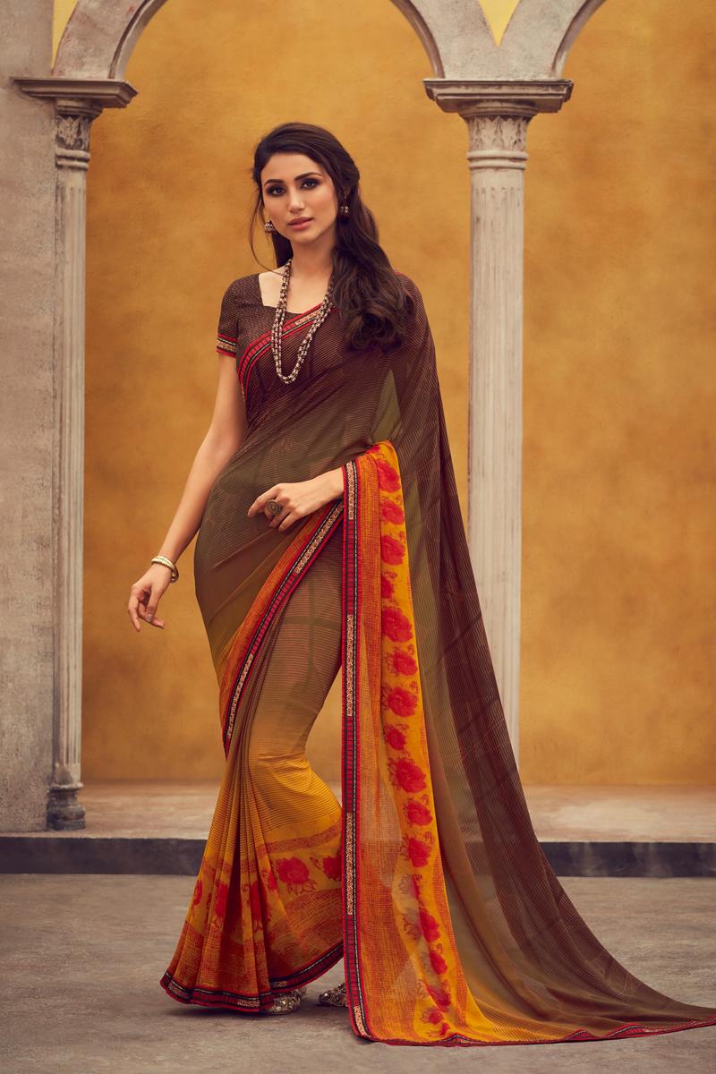 Brown Color Georgette Fabric Regular Wear Fancy Printed Saree