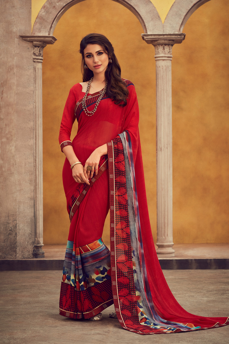 Casual Wear Fancy Printed Saree In Georgette Fabric Red Color