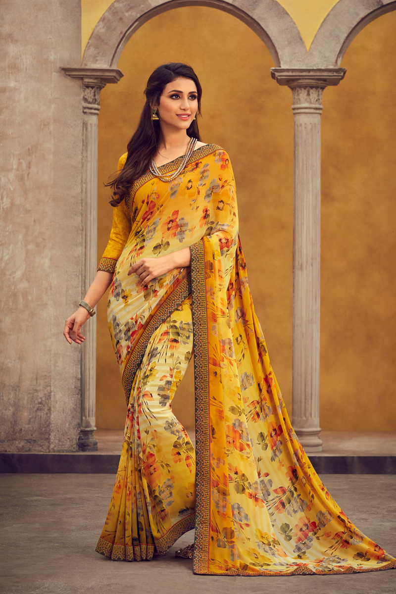 Fancy Georgette Fabric Yellow Color Printed Daily Wear Saree