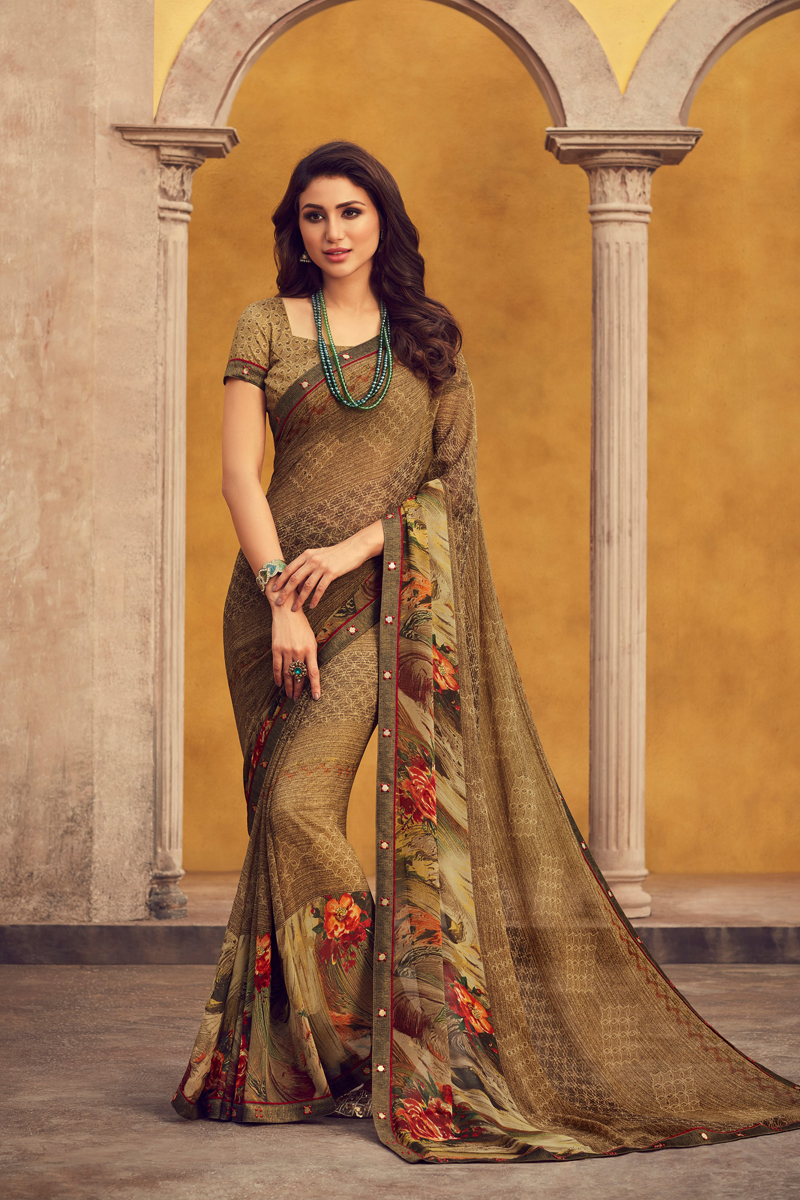 Georgette Fabric Light Brown Color Daily Wear Fancy Printed Saree