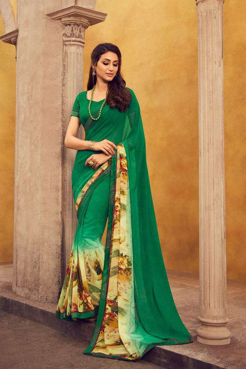 Green Color Fancy Georgette Fabric Printed Daily Wear Saree