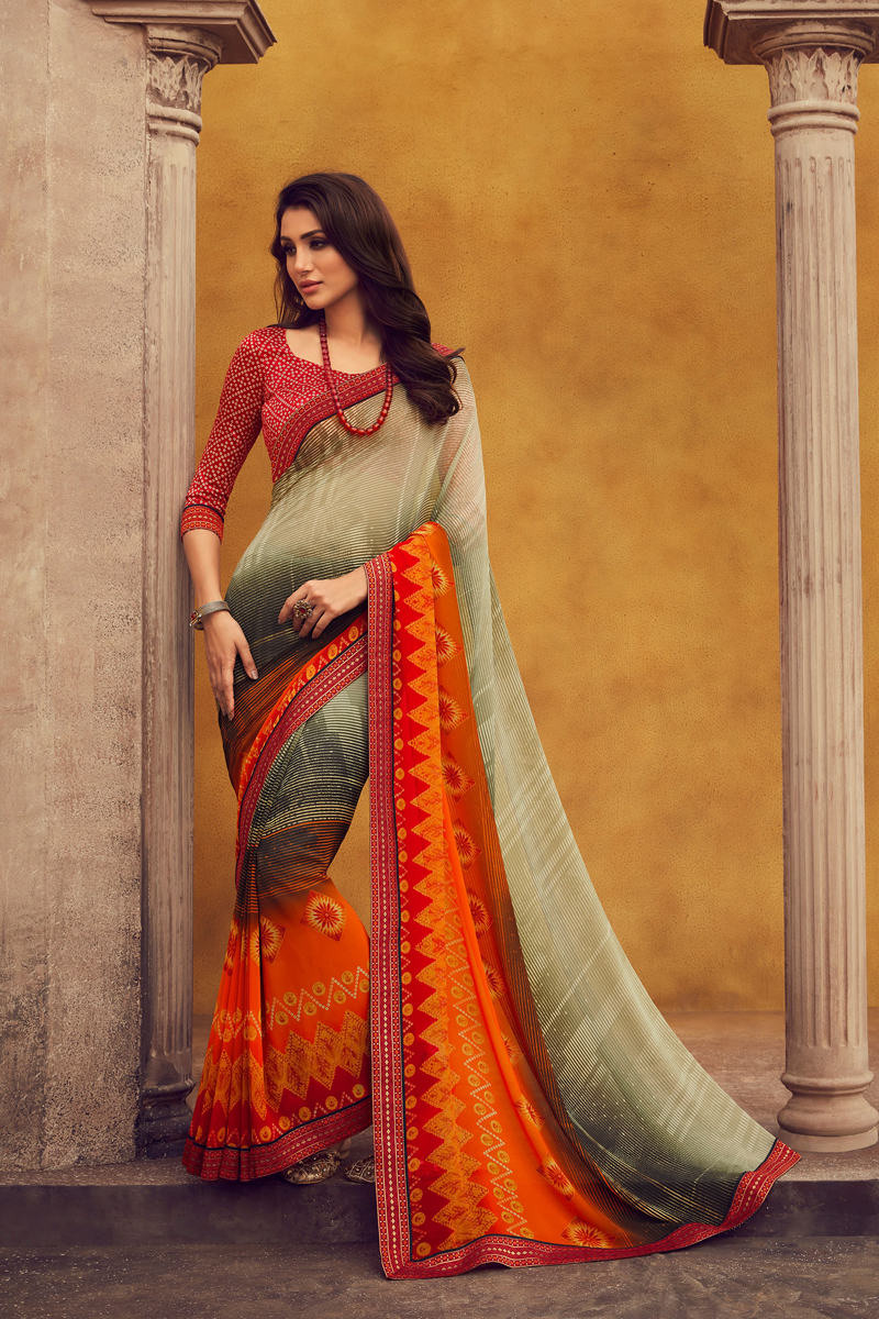 Beige Color Regular Wear Georgette Fabric Printed Saree