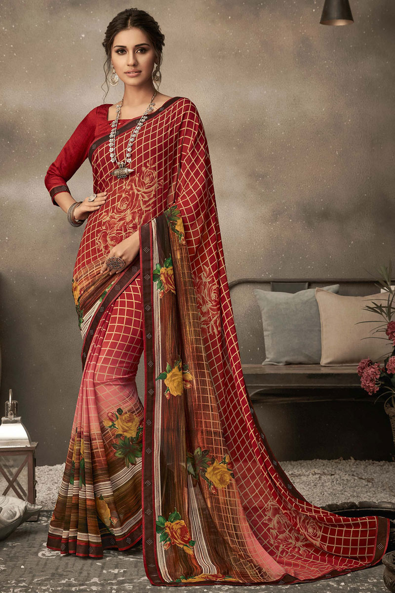 Georgette Fabric Red Color Fancy Printed Daily Wear Saree