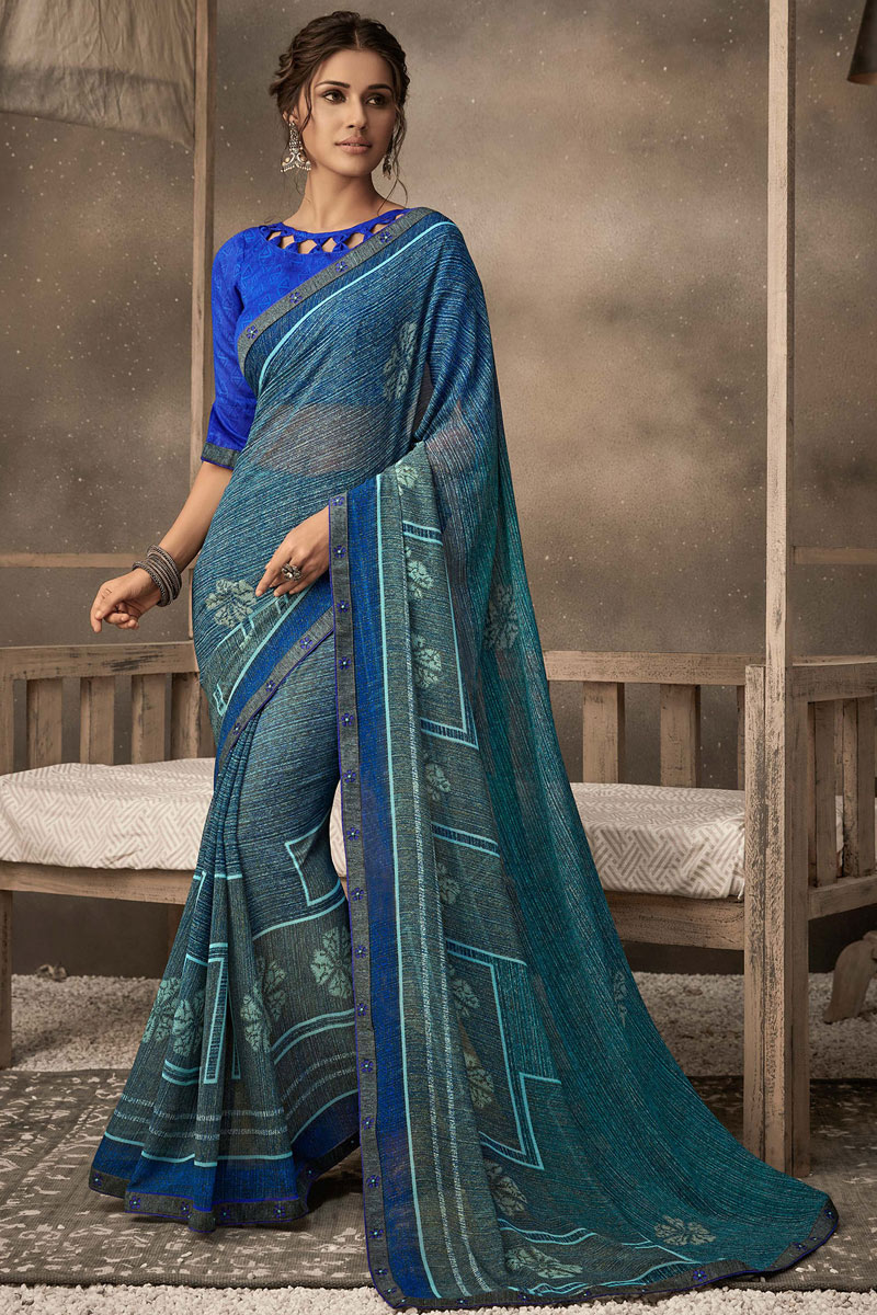 Georgette Fabric Blue Color Casual Wear Printed Saree