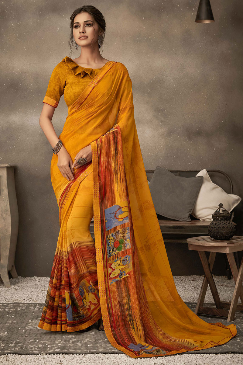 Orange Color Georgette Fabric Daily Wear Printed Saree