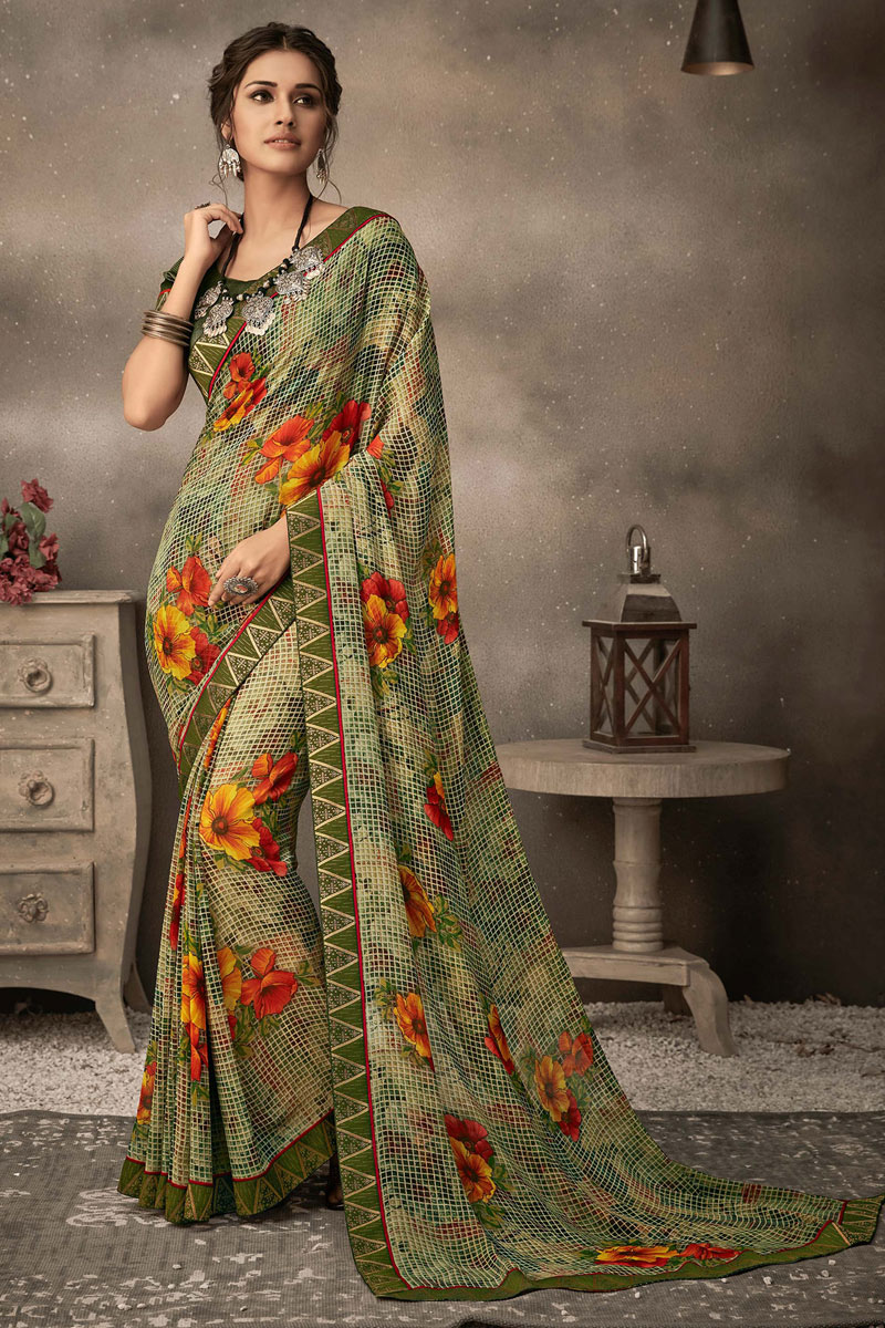 Georgette Fabric Green Color Printed Fancy Casual Wear Saree