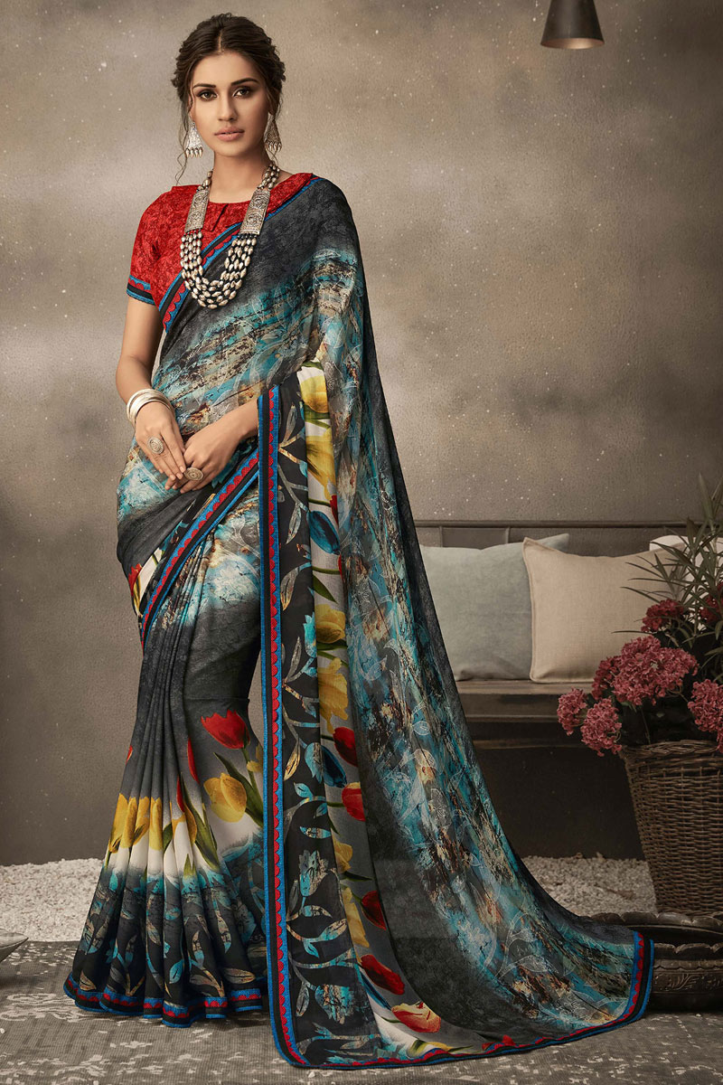 Georgette Fabric Black Color Office Wear Printed Saree