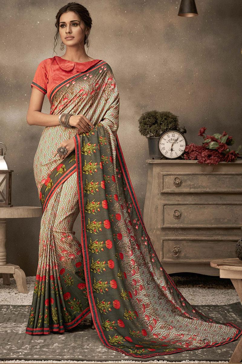 Georgette Fabric Fancy Printed Casual Saree In Multi Color