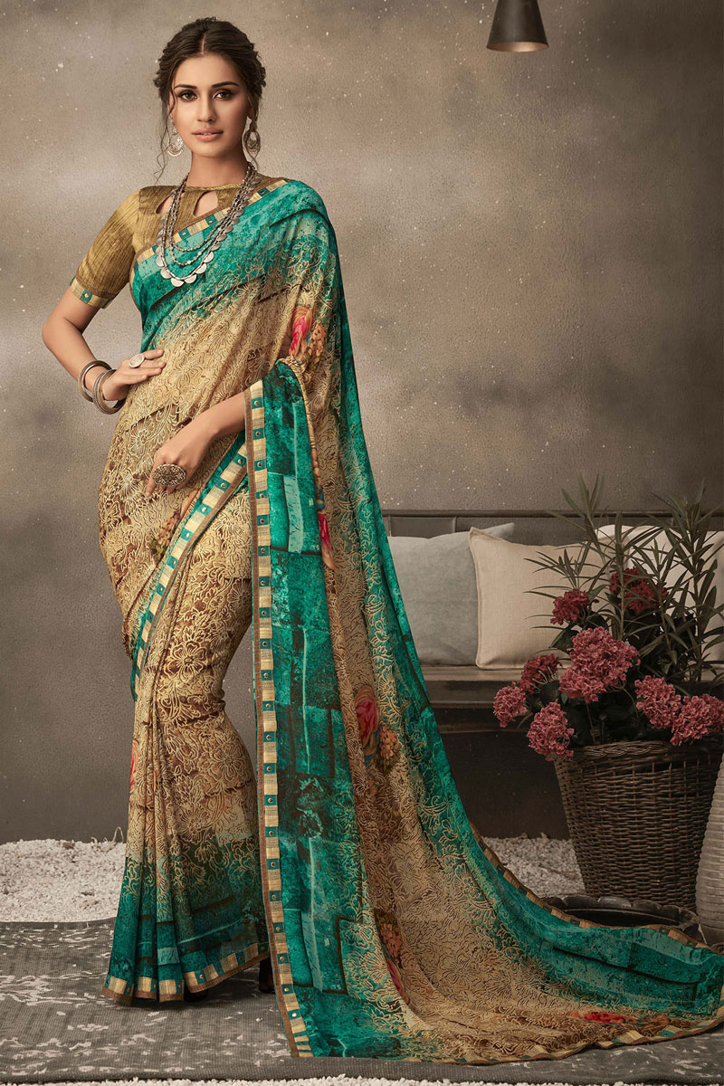 Cream Color Georgette Fabric Printed Daily Wear Saree
