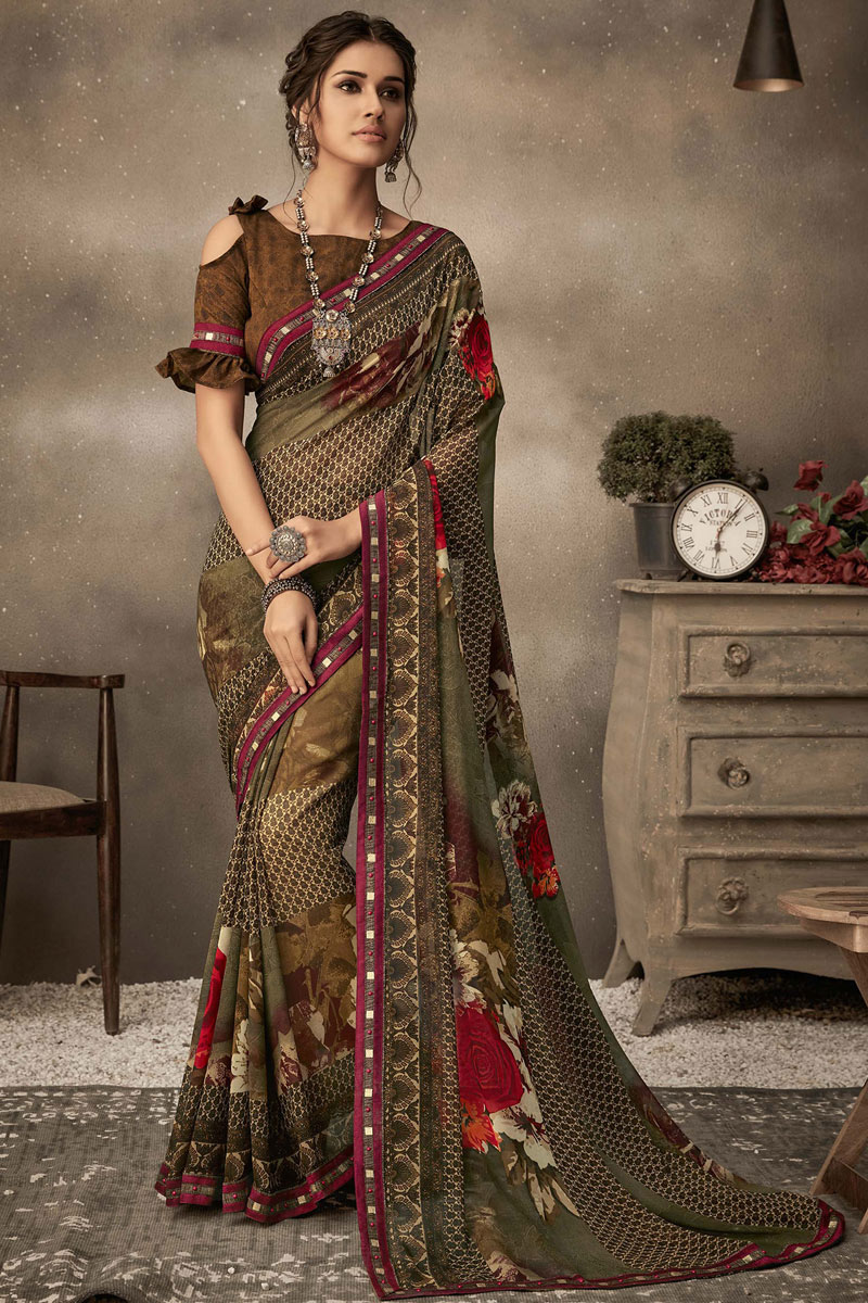 Georgette Fabric Printed Designs On Brown Color Office Wear Saree