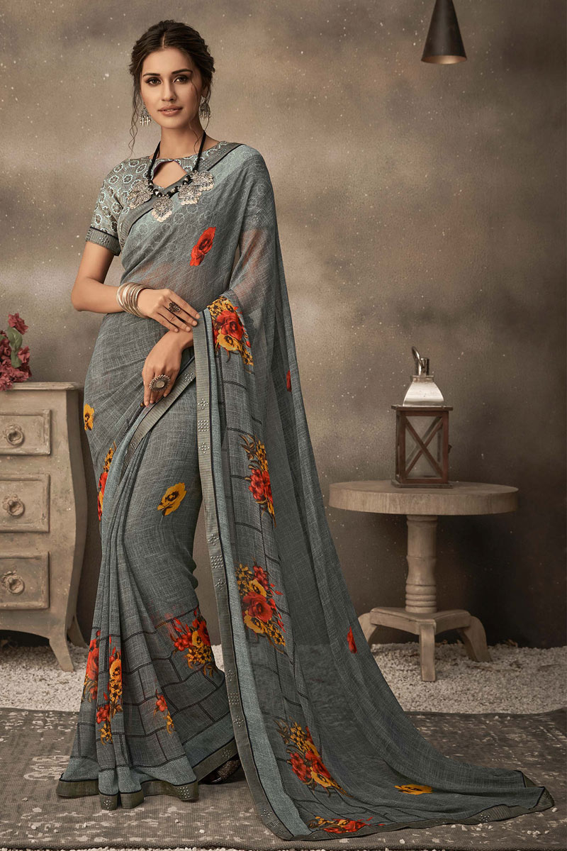 Printed Grey Color Georgette Fabric Casual Wear Saree