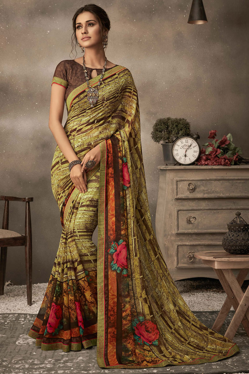 Green Color Georgette Fabric Function Wear Printed Saree