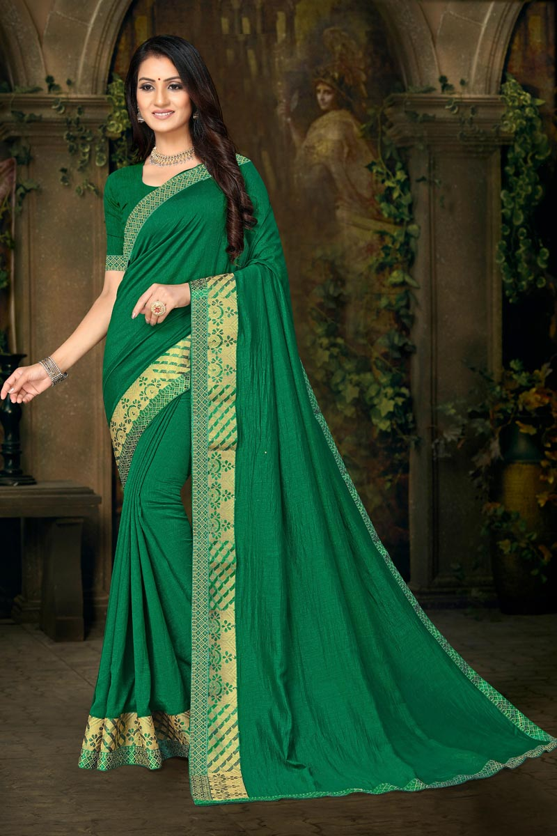 Daily Wear Fancy Art Silk Fabric Lace Work Green Color Saree