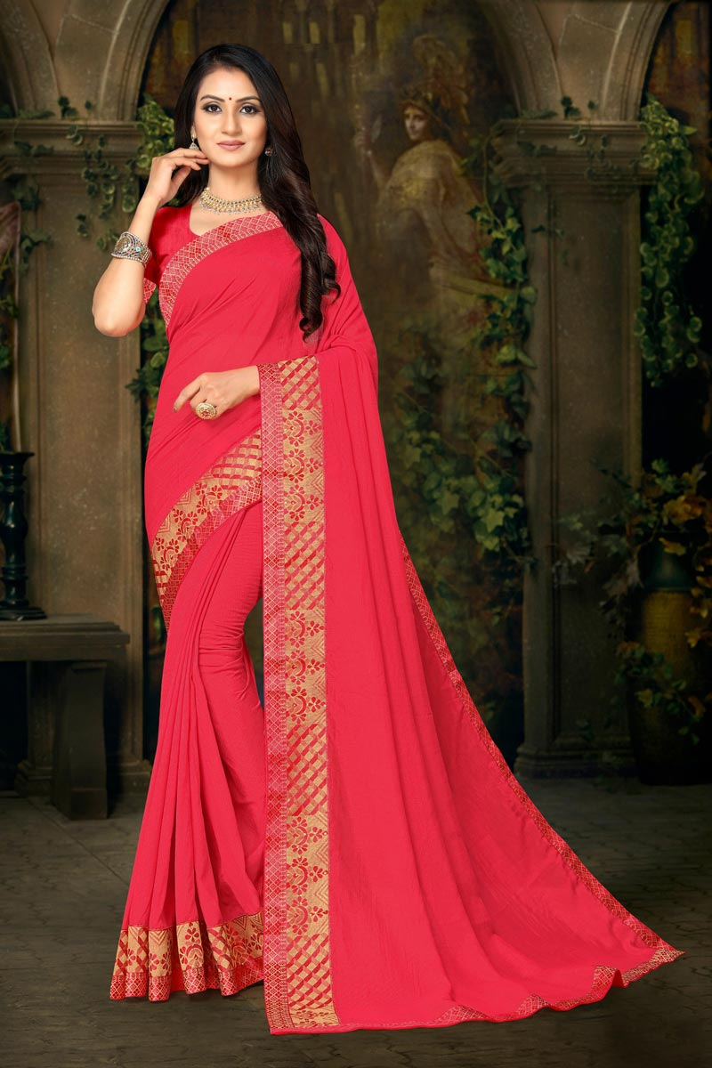 Pink Color Daily Wear Art Silk Fabric Fancy Lace Work Saree