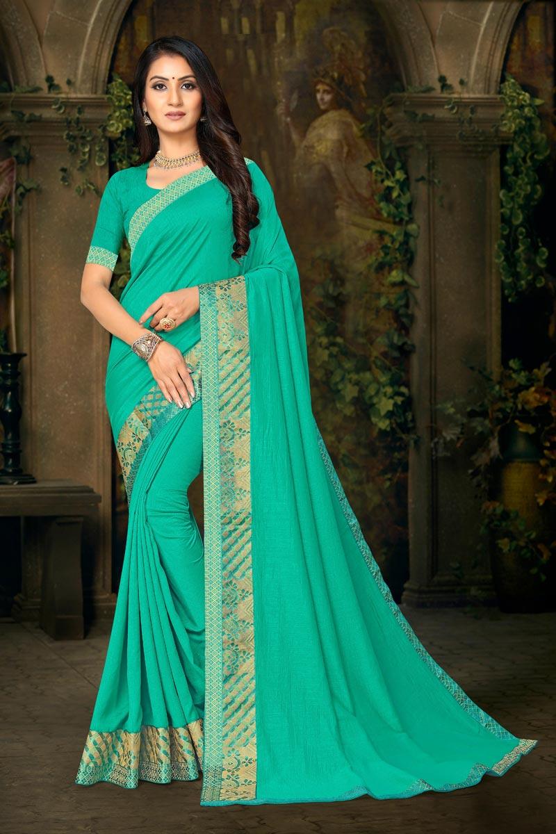 Daily Wear Sea Green Color Fancy Art Silk Fabric Lace Work Saree